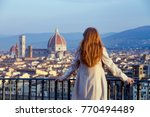 girl looking at the city of... | Shutterstock . vector #770494489