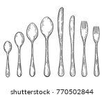 big set of hand drawn fork ...   Shutterstock .eps vector #770502844