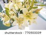white green lilies in the vase | Shutterstock . vector #770503339