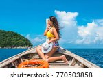 traveler woman in bikini... | Shutterstock . vector #770503858