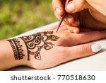 henna drawing mehendi | Shutterstock . vector #770518630