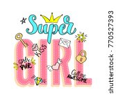 super girl  lettering with... | Shutterstock .eps vector #770527393