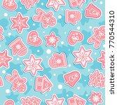 doodles christmas cookies.... | Shutterstock .eps vector #770544310