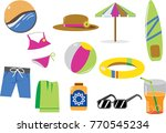 vector set of colorful beach... | Shutterstock .eps vector #770545234