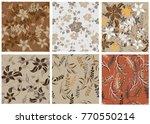 vector seamless pattern flowers ...   Shutterstock .eps vector #770550214