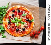 hot pizza with pepperoni...   Shutterstock . vector #770556520