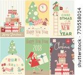 merry christmas retro posters... | Shutterstock .eps vector #770558014