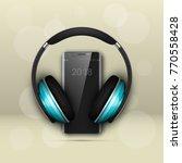 image headphones on smartphone... | Shutterstock .eps vector #770558428