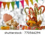 colored candy on white... | Shutterstock . vector #770566294