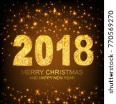 2018 merry christmas and happy...   Shutterstock .eps vector #770569270