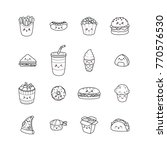 set of vector cartoon doodle... | Shutterstock .eps vector #770576530