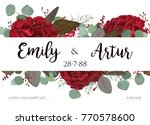 Stock vector wedding invite invitation thank you greeting rsvp card vector watercolor hand drawnfloral 770578600