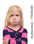little girl with sad face - stock photo