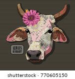 vector cow with flower. hand... | Shutterstock .eps vector #770605150
