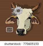 vector cow with flower. hand... | Shutterstock .eps vector #770605153