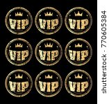 set of nine gold round vip... | Shutterstock .eps vector #770605384