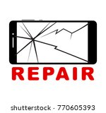 broken smartphone with cracked... | Shutterstock .eps vector #770605393