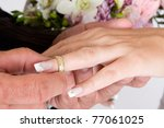 Groom putting wedding ring on bride`s finger - stock photo