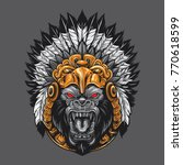 Angry Gorilla Wearing Aztec...