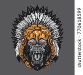 angry gorilla wearing aztec... | Shutterstock .eps vector #770618599