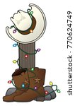 cowboy hat and boots are... | Shutterstock .eps vector #770624749