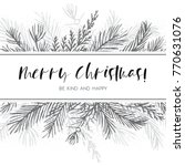 merry christmas greeting card ... | Shutterstock .eps vector #770631076