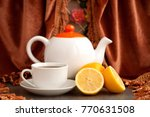 tea with lemon. a teapot and a... | Shutterstock . vector #770631508
