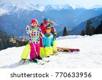family ski vacation. group of...   Shutterstock . vector #770633956