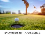 golf ball approach to the hole... | Shutterstock . vector #770636818
