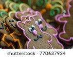 multiple gingerbread teddy... | Shutterstock . vector #770637934