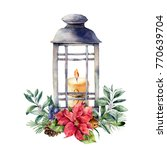Watercolor Christmas Lantern...