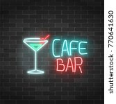 neon cafe and bar sign on a... | Shutterstock .eps vector #770641630