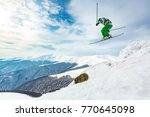 a skier is jumping from the... | Shutterstock . vector #770645098