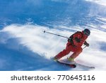 a skier on the slope.  out of... | Shutterstock . vector #770645116