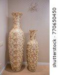 Two Large Antique Beige Vases....