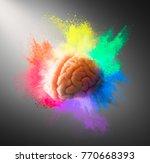 creativity concept with a brain ... | Shutterstock . vector #770668393