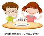 kids blowing cake on birthday... | Shutterstock .eps vector #770671954