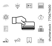 hand holding a credit card icon.... | Shutterstock .eps vector #770674600