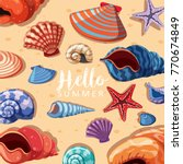 summer theme background with... | Shutterstock .eps vector #770674849