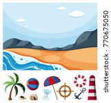 ocean scene with different... | Shutterstock .eps vector #770675050