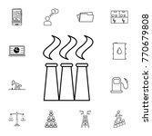black thin line factory icon....