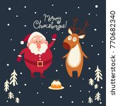 christmas vector card with... | Shutterstock .eps vector #770682340