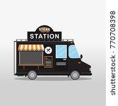 steak food truck. street and... | Shutterstock .eps vector #770708398