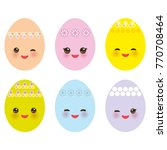 happy easter greeting card... | Shutterstock . vector #770708464