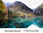 colorful lakes in autumn at... | Shutterstock . vector #770711134