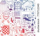 hand drawn fashion illustration.... | Shutterstock .eps vector #770712340