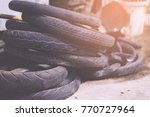a lot of wheel tires of... | Shutterstock . vector #770727964