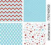 christmas seamless patterns.... | Shutterstock . vector #770740930
