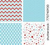 christmas seamless patterns.... | Shutterstock . vector #770740930