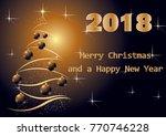 gold christmas card 2018 | Shutterstock .eps vector #770746228